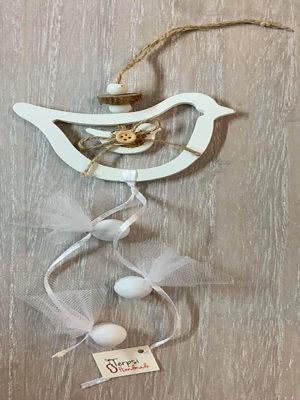 Μπομπονιέρα κρεμαστή λευκό περιστέρι