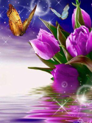 diamont-art-μωβ λουλουδάκια