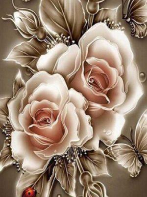 diamont-art-λευκά τριαντάφυλλα