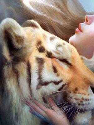 diamont-art-Γυναίκα/Τίγρης