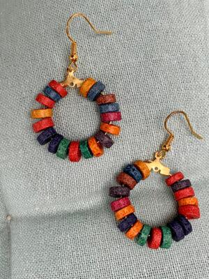 Σκουλαρίκια με χρωματιστές πέτρες