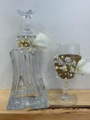 Κρυσταλλινο σετ γάμου με χειροποίητη διακοσμησγ